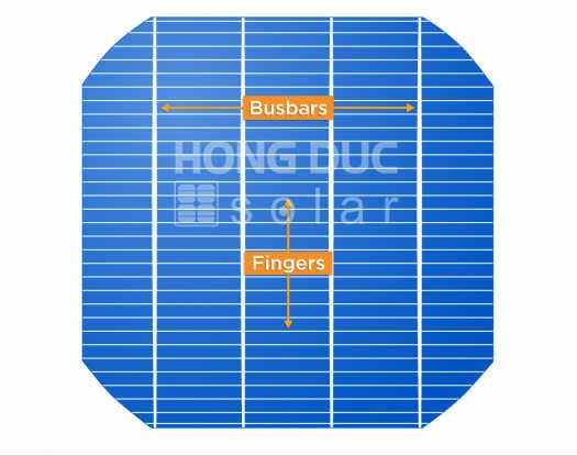 Hình ảnh một cell pin có 4 busbars